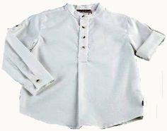 280cd69a4 Camisa de polen blanco roto con cuello mao y manga rocogible - Camisas para  Niño de