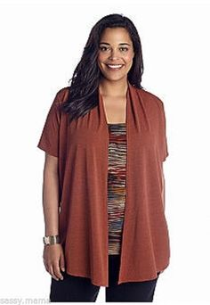 Kim Rogers by Belk Lovely Rust Plus Size Print Inset 2-Fer NWT SX 2X #KimRogers #Blouse #Casual