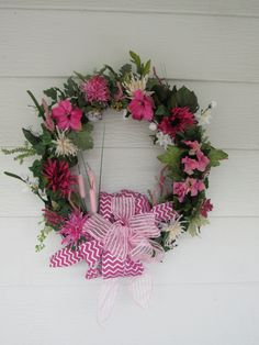 Pink Wreath Pink Door Wreath Pink Floral by MnMadeWreathsNThings