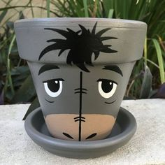 Eeyore Inspired Hand-painted Flower Pot by Flourish And Pots on Etsy Flower Pot Art, Clay Flower Pots, Flower Pot Crafts, Clay Pots, Flower Pot People, Clay Pot People, Clay Pot Projects, Clay Pot Crafts, Shell Crafts