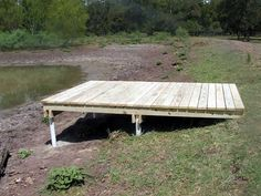 Looking to build a deck in Texas? Coastal Marine construction company builds piers, bulkheads, fishing peirs, boat houses,and decks all along the Texas Coast. Floating Deck Plans, Floating Dock, Building A Dock, Farm Pond, Laying Decking, Lake Dock, Deck Builders, Ponds Backyard, Pond Landscaping