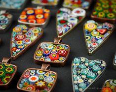Flower Millefiori Mosaic Keychain  Wearable Art