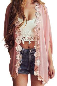 Crochet Flower Spliced Half Sleeve Blouse