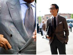 Plaid Suits and striped shirts groom outfits and suits