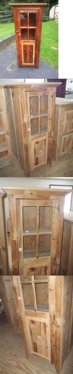 Antiques: Antique Amish Custom Built Unfinished Reclaimed Barn Wood Jelly Cabinet W Glass -> BUY IT NOW ONLY: $375 on eBay!