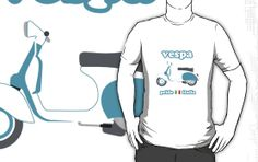 I bought this t-shirt---love the Vespa colors match mine.  (Measurements are for shirt laid out flat, not YOUR measurements... seller very responsive & clarified that for me)