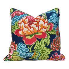 Thibaut Honshu Pillow in Navy Blue and Red. Pink Pillows, Floral Pillows, Velvet Pillows, Decorative Pillows, Throw Pillows, Red And Blue, Navy Blue, Orange Red, Designer Pillow