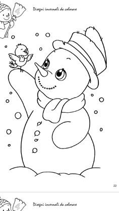 Snowman and Bird Winter Coloring Page Snowman Coloring Pages, Fall Coloring Pages, Christmas Coloring Pages, Coloring Pages To Print, Coloring Pages For Kids, Coloring Books, Christmas Stencils, Christmas Templates, Christmas Colors