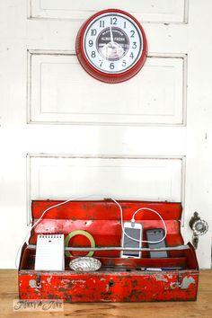 Metal toolbox charging station by Funky Junk Interiors Old Tool Boxes, Metal Tool Box, Metal Tools, Old Tools, Ideas Para Organizar, Rusty Metal, Functional Kitchen, Vintage Tools, Funky Junk