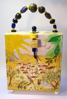 Purse - Cigar Box Purse with Decoupaged Napkin and Tissue Paper - Dreaming of Provence.