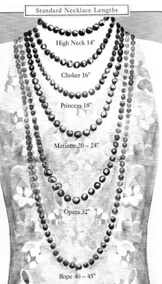 Necklace length guide for an average (size 8) woman. Keep in mind that the larger your neck is, the shorter necklaces will be on you.