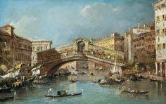 ۩۩ Painting the Town ۩۩ city, town, village & house art - Francesco Guardi | Rialto Bridge, Venice