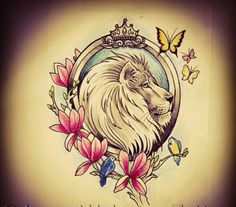 Lion tattoo, flowers , crown and butterflys