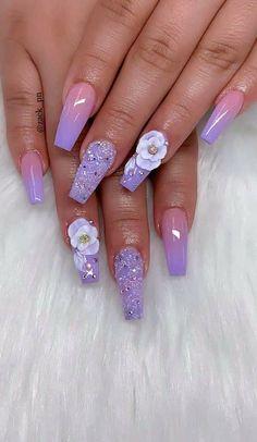 Acrylic Nail Designs, Acrylic Nails, 3d Nails, Mani Pedi, Art Designs, Curly Hair Styles, Nail Art, Pretty, Work Nails