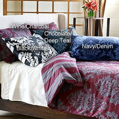 Havana Reversible 3-Piece Duvet Cover Set starting at $29.99 on overstock.com.  This is not my style, but I added it here to show you that duvet sets as well as comforter sets come in reversible patterns which give you a variation of looks.  You can use all of one patter or mix them and use sheets in either of the two color combinations.  Great buy and easy way to make you bedroom more lavish.