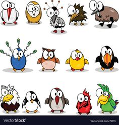 Drawing Cartoons Clipart - Collection of cartoon birds. Fotosearch - Search Clip Art, Illustration Murals, Drawings and Vector EPS Graphics Images - Bird Drawings, Doodle Drawings, Cartoon Drawings, Doodle Art, Cartoon Bird Drawing, Drawing Clipart, Cartoon Kunst, Cartoon Art, Cartoon Characters