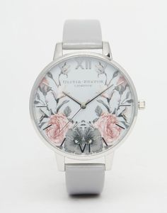 nice Olivia Burton Enchanted Garden Grey Patent Big Dial Watch at asos.com