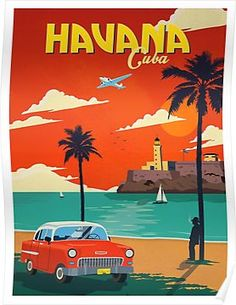 Miami Retro art  Vintage Travel Poster Print painting  for Glass Frame 900mm