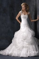 New A-Line Wedding Dress: A-Line Taffeta  Organza Gown with Sweetheart Neckline Cap Sleeves Beading  App