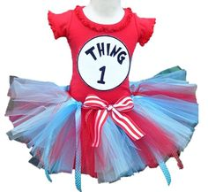 Thing 1 Thing 2 Birthday Tutu Outfit 2 Piece set