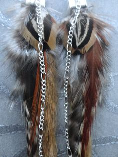 Feather Earrings w Natural Brown Rabbit Fur by medicineproductions, $79.99