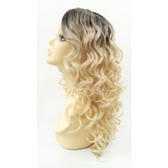 Long 18 Inch Curly Light Blonde Heat Resistant Wig With Dark Brown... ($60) ❤ liked on Polyvore featuring beauty products, haircare, hair styling tools, bath & beauty, hair care, silver, wigs and curly hair care