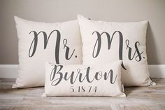 Wedding Gifts Diy Mr and Mrs Pillow Sets, 3 Wedding Pillows Set Custom Monogrammed Pillow Sets, Pillows with Mr and Mrs Last Name Wedding Shower Gifts, Custom Wedding Gifts, Personalized Wedding Gifts, Wedding Showers, Bridal Shower, Diy Wedding, Wedding Ideas, Trendy Wedding, Wedding Rustic