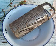 Primitive Rusty Round Tin Cheese Grater by cynthiasattic on Etsy