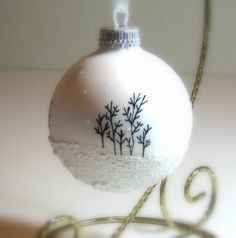 Wintry White Aspen Snow Scene with Snow falling and Glitter, Hand Painted Glass Christmas Ornament, $13.00