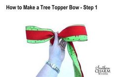 Tree topper bows are very popular and really add a finished touch to your Christmas tree. Today, I'm sharing my instructions for making a tree topper bow. Diy Christmas Tree Topper, Christmas Tree Bows, Christmas Crafts, Christmas Decorations, Craft Decorations, Blue Christmas, Christmas Stuff, Christmas Holidays, Xmas