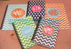Personalized LARGE spiral Bound Notebook by preppypapergirl, $18.50