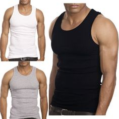 Muscle Men Top Quality 100 Premium Cotton A Shirt Wife Beater Ribbed Tank Top US $3.99