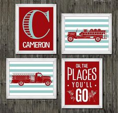 Fire truck nursery decor boys nursery decor by customedgestudio