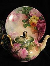 """ROMANTIC ROSES"" Gorgeous Hand Painted Antique Limoges France Porcelain Floral Cabinet Art Plate 9 1/2"" Circa 1900"