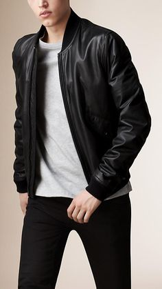 Burberry Black Nappa Leather Bomber Jacket - A bomber jacket in super-soft nappa leather with a contrast technical fabric interior. Discover the men's outerwear collection at Burberry.com