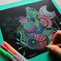 cute drawings of love Mandala Art Lesson, Mandala Doodle, Mandala Drawing, Cute Drawings Of Love, Colorful Drawings, Doodle Drawings, Doodle Art, Gel Pen Art, Gel Pens