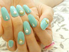 Mint nail press on nail simple nail nail art acrylic by Aya1gou