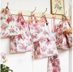 Cassandra Rose, Ulster Weavers cottons and PVC bags Fabric Roses, Romantic Roses, Pretty Packaging, Rose Buds, Clothes Hanger, Wallpaper, My Style, Interior, Aprons
