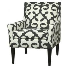 Streamlined arm chair with fleur-de-lis-print upholstery.  Product: ChairConstruction Material: Kiln-dried hardwoodColor: Cream and greyDimensions: 37.5 H x 31 W x 28 DCleaning and Care: Vacuum regularly