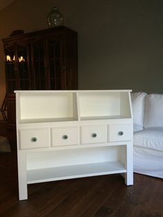 Repurposed twin bookcase headboard