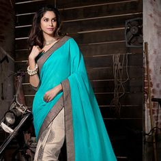 Teal Blue and Beige Art Silk Saree with Blouse