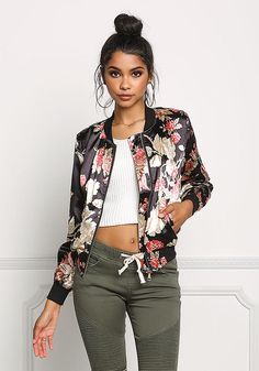 Black Silky Floral Print Bomber Jacket - Jackets - Outerwear - Clothes