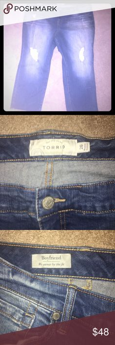 Torrid Size 26 distressed ankle jeans boyfriend These are Euc. Size 26. Lots of stretch. Clean and smokefree home. torrid Jeans Ankle & Cropped