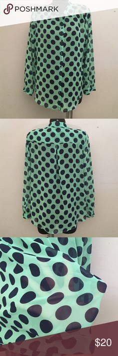 Polka dot shirt Green and navy blue. Perfect condition! (B1) Liz Claiborne Tops