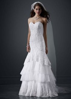 Petite Tiered All Over Lace Mermaid Wedding Dress 7PWG3602