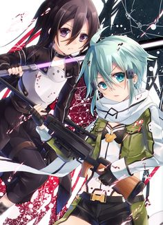 Kirito and Sinon _Sword Art Online Manga Art, Anime Art, Asada Shino, Sao Ggo, Gun Gale Online, Kirito Asuna, Sword Art Online Kirito, Light Novel, Animation Film