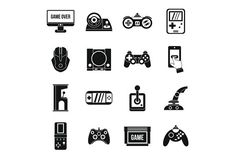 Video game icons set, simple style by Ylivdesign on Game Icon, Icon Set, Video Game Drawings, The Game Is Over, Sport Icon, Icon Pack, Simple Style, How To Draw Hands, Presentation