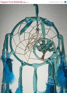 DREAMCATCHERMAN Turquoise Dreams Dream Catcher,dreamcatcher is hand-woven with a copper wire wrapped turquoise gemstone tree of life and a b