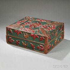 Green- and Red-painted Pine Storage Box with Applied Carved Decoration