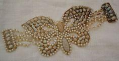 Vintage French Seashell and Beaded Bracelet